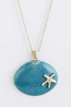 Summer accents - Our Shell Pendant Necklace is a lovely accent and priced right at www.TheShoppingBagStore.com  #starfish #fashion #jewelry #seashells