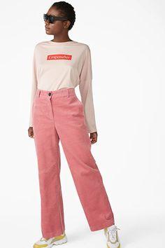 Wide leg corduroy trousers - Cherry me pink - Trousers & shorts - Monki GB