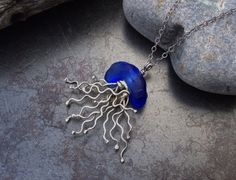 Sea glass jewelry  Whimisical cobalt blue sea by FatCatsOnTheBeach, $71.00