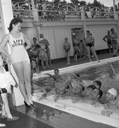 Coney Island, Steeplechase Pool lifeguard.  1942.