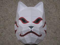 From Naruto, it's the ANBU mask that Kakashi wears! I got the template from (c) Kishimoto (c) Anbu Mask- Papercraft Naruto Birthday, Ninja Birthday Parties, Naruto Cosplay Costumes, Cosplay Diy, Mascara Anbu, Kakashi Anbu Mask, Naruto Party Ideas, Paper Toys, Paper Crafts