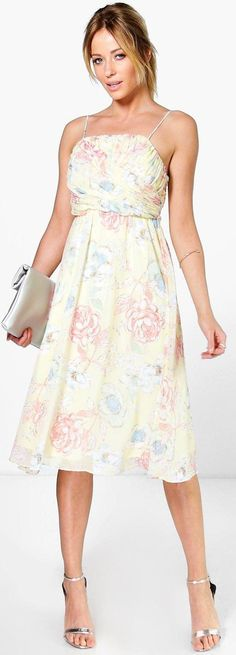 Lorelai Pleated Floral Print Strappy Midi Dress - Dresses  - Street Style, Fashion Looks And Outfit Ideas For Spring And Summer 2017