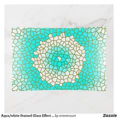 Shop Aqua/white Stained Glass Effect > Trinket Tray created by orientcourt. Fused Glass, Stained Glass, White Stain, Creative Walls, Safe Food, Aqua, Tray, Clock, Tapestry