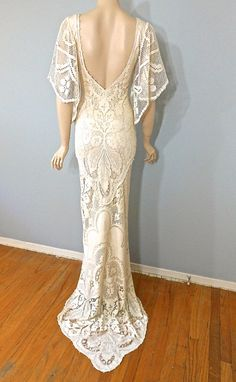 Boho WEDDING Dress Vintage Style Crochet LACE by MuseClothing