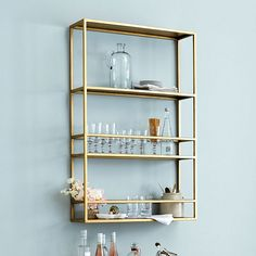 Get organized with wall shelves and more from Ballard Designs! Find floating wall shelves for decor and organization today! Decor, Shelves, Bar Furniture, Interior, Bar Shelves, Bar Cart Decor, Diy Shelves, Glass Shelves Kitchen, Glass Shelves