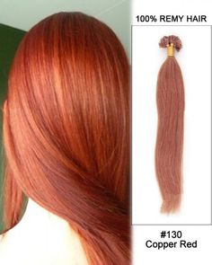 Wholesale 18'-24' #130 Copper Red Straight 100% Remy Hair Human Nail Tip U Tip Hair Extensions