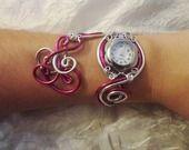 Bracelet montre - Piéce Unique- Duo d'aluminium argenté fushia # : Montre par tendancebijoux