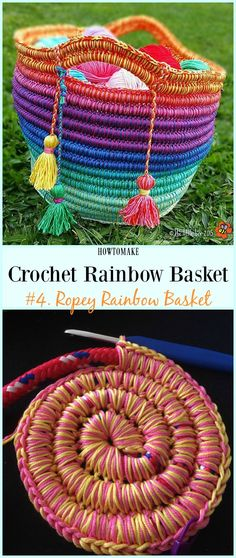 Ropey Rainbow Basket Free Crochet Pattern - link leads to multiple patterns. Will need to navigate to wanted patterns Rainbow Free PatternsRopey Rainbow Basket Free Crochet Pattern – Rainbow Free Patter… - Mache El Selbst - Do it Your Own - Crochet Home, Crochet Crafts, Yarn Crafts, Free Crochet, Crochet Baby, Knit Crochet, Rainbow Crochet, Crochet Fabric, Flower Crochet