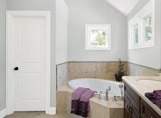 Bathroom in Universal Grey...universal grey IS the best light grey paint color; no hidden undertones