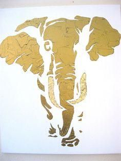 Beautiful hand painted large bronze elephant with by 10kiaatstreet, $225.00