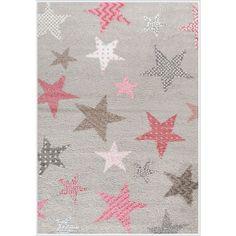 Παιδικό χαλί με αστέρια σε γκρι ροζ και λευκό χρώμα