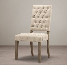 19th C. French Victorian Tufted Square Side Chair