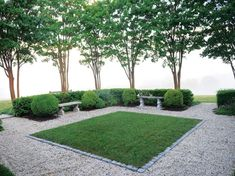 cobble-lined lawn