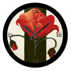 Halftone Red Painted Poppy Clock