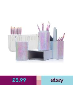 Nail Art Accessories Mermaid Fish Scale Magnet Brush Holder Storage Case Pen Bag Makeup Nail Art Tool #ebay #Fashion