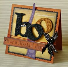 "Cute & Glittery Halloween ""Boo"" Card...picture only for inspiration."