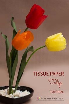 Tissue paper Tulip tutorial and free template #paperflowers #flowertutorial #flowertemplate