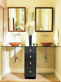glass top vanity with two vessel sinks
