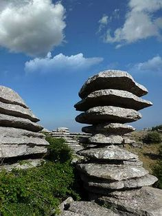 Photo: Rock formations in El Torcal Nature Reserve are south of Antequera Spain Beautiful World, Beautiful Places, Amazing Places, Places Around The World, Around The Worlds, Performance Artistique, Formations Rocheuses, Balanced Rock, Cool Rocks