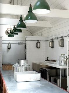 Industrial green looks good on you. #industrial #lighting #vintage #antique #office #pendant