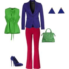 """Clear Spring - yellowgreen/purplered/blueviolet"" by adriana-cizikova on Polyvore"