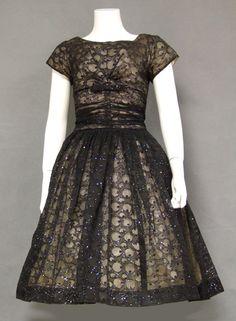 Glitter Topped Flocked Chiffon Vintage Cocktail Dress
