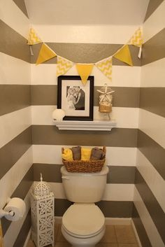 striped grey bathroom. Who wants to come tape perfect stripes on my walls? I will paint, just need a perfectionist to get the tape stripes on straight! lol