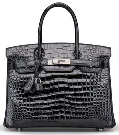 A SHINY BLACK POROSUS CROCODILE BIRKIN 30 BAG