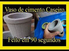 Vaso de cimento caseiro Profissional, feito com molde de plástico comum de 0,50 centavos. vaso resistente feito em 90 segundos