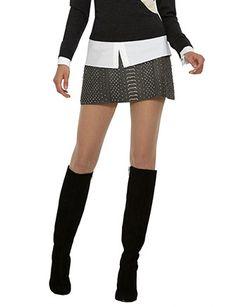 ALICE + OLIVIA Embellished Leather Mini Skirt