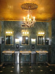 Restroom in I. Magnin with its marble walls, floors and gilded gold ceiling.