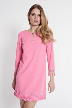 a55fa7c0a480d5 Rosa A-Linien-Kleid Sawaly mit Fransen