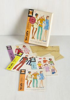 Just Sew Sweet Notecard Set by Chronicle Books - Multi, Vintage Inspired, Good, Novelty Print, Top Rated, Dorm Decor, Hostess