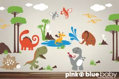 Kids Wall Decal  Dinosaur Land Playroom Wall by pinknbluebaby, $220.00- For Hunters next room design