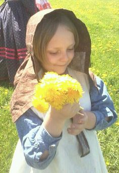 Civil War Child with Flowers