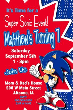 Custom Sonic the Hedgehog Birthday Party by LawsonCardShop on Etsy