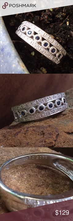 ‼️WED NIGHT SPECIAL‼️  Diamond Sapphire Band NWOT Very comfortable band with diamonds and bezel set sapphires.  This is WG I think but am selling as platinum plated sterling because I am not 100 percent positive!  NWOT. Have had it in  my jewelry box awhile! Jewelry Rings