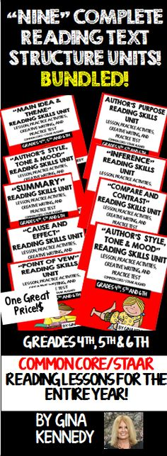 READING LESSONS FOR THE ENTIRE YEAR! I have bundled all nine of my Text Structure Reading Units for one great price. Each unit includes a thorough review of each reading skill with follow-up activities, a creative writing project and a practice test. Use the units for introducing a new reading skill, reviewing the skill or for small group intervention. Excellent for state standardized reading test preparation. Common Core and STAAR aligned. $