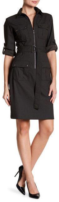 Sharagano Pinstripe Belted Flap Pocket Dress