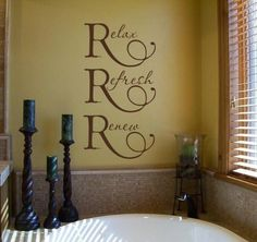 Items similar to Relax Refresh Renew Wall / Bathroom Decor / Spa / Women's Locke room Sign / Day Spa Sign / Shower Door Decor Vinyl Wall Lettering Saying on Etsy Spa Bathroom Decor, Spa Bathrooms, Relaxing Bathroom, Bathroom Ideas, Master Bathroom, Bathroom Sayings, Bathroom Vinyl, Bathroom Remodeling, Wall Decals For Bedroom