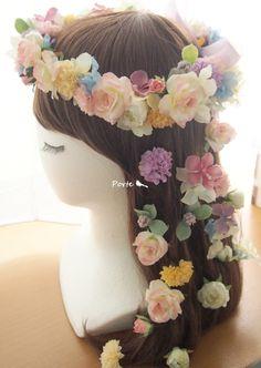 シャーベットカラーの花冠&花飾り ウェディングブーケ・花冠・通販専門店「ぽると」
