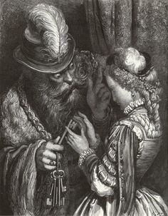 Bluebeard - Gustave Dore Completion Date: 1862 Style: Romanticism Series: Tales and Stories of the Past with Morals Genre: illustration Dimensions: 33 x 27 cm Tags: fictional-characters, Charles-Perrault-'La-Barbe-bleue', Bluebeard Gustave Dore, Illustration Française, Book Illustrations, Charles Perrault, Drawn Art, Grimm Fairy Tales, Wood Engraving, Printmaking, Creepy