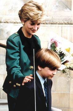 Diana et son fils, William au Musée national en 1992.