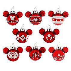 Disney Mickey Mouse Icon Ornament Set - Red   Disney StoreMickey Mouse Icon Ornament Set - Red - Deck the halls with a mouse that's jolly! Our miniature glass Ornament Set includes 8 glittering red Mickey icon ornaments, perfect for a tiny table top tree or a towering pine giant!