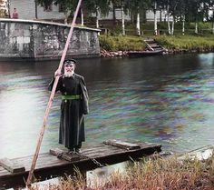 An 83 yr. old lock keeper on a canal in Russia, ca. 1909.