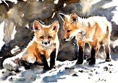 Saatchi Online Artist: Lucy Newton; Watercolor, Painting fox cubs... I like her style