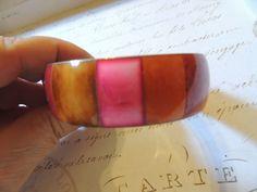Pink Red Orange Brass Boho Wide Bangle Bracelet Vintage Jewelry by OodlesofBling on Etsy https://www.etsy.com/listing/257606229/pink-red-orange-brass-boho-wide-bangle