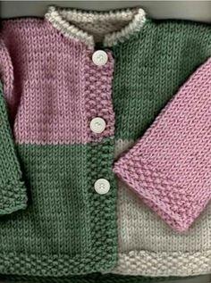 Layette Ensemble Rose Et Gris 3 Mois Bra - Diy Crafts Baby Cardigan Knitting Pattern Free, Kids Knitting Patterns, Baby Sweater Patterns, Baby Boy Knitting, Crochet Baby Cardigan, Knitting For Kids, Baby Patterns, Free Knitting, Booties Crochet