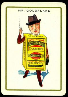 "Cigarette Advertisment Card - Mr Goldflake. Wills's Cigarettes ""Happy Families"" advertisment card (set of 32 issued in 1939)"