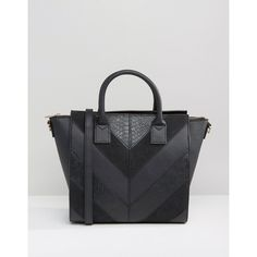 ASOS Chevron Panel Wing Tote Bag (185 SAR) ❤ liked on Polyvore featuring bags, handbags, tote bags, black, vegan leather tote, asos, handbags totes, vegan tote bags and vegan purses